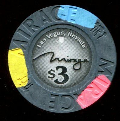 $3 Las Vegas Mirage Poker Room Casino Drop Chip - Uncirculated