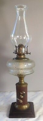 Antique 1890's Victorian Composite Oil Lamp Webster Font Pattern Terracotta Stem