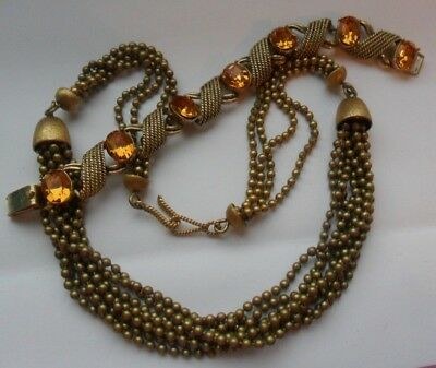 Vintage costume jewellery jewelcraft diamante bracelet + heavy beads necklace