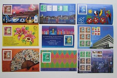 XL3522:  Selection of 9 Mint Hong Kong Stamp Minisheets (1990 – 96)