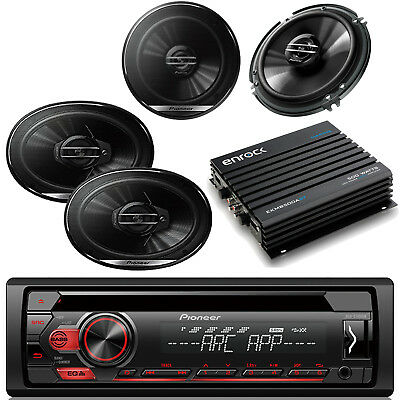 "Pioneer 6.5"" & 6x9 Speakers, Pioneer AUX CD Mp3 Car Radio,  500W Car Amplifier"