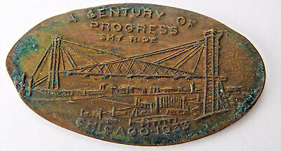 Chicago 1933 A Century Of Progress Sky Ride Elongated Cent
