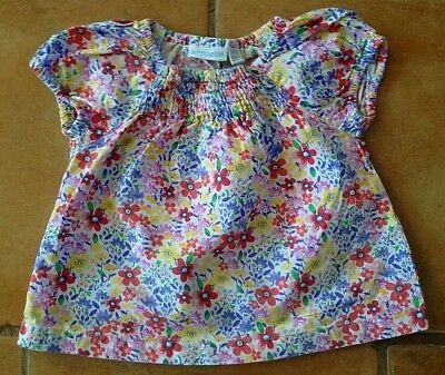 Jojo Maman Bebe ! Age 6 - 12 Ms ! Really Pretty Flowered Cotton Top In Vgc !!