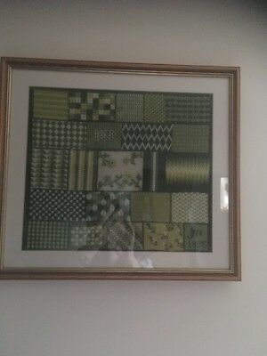 Vintage Retro Mid Century 1970s Abstract Wool Tapestry Picture Stitch Sampler