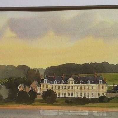 """Watercolor Print CHATEAU AT SUNSET Pierre Deux """" Antique Style """" Country French"""