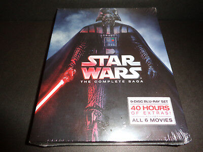 STAR WARS--THE COMPLETE SAGA--9 disc set featuring 6 movies, 40 hours of extras