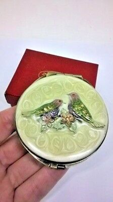 Enamel & Crystal Bird Double Mirror Compact Antiqued Gold Tone Pink Lilac