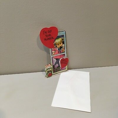 Vtg Valentine Card Mod Pete Hawley Girl Phone Booth Yorkie? Dog Unused NOS