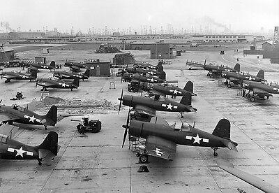 WWII Photo F4U Corsair Fighters at Long Beach  1945 WW2 B&W World War Two / 5126