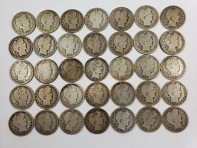 US Barber Half Dollars - 35 Coin Lot including 1893-S, 1915-P, etc