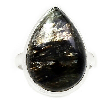 Rare Black Golden Seraphinite From Serbia 925 Silver Ring Jewelry s.8 RR204483