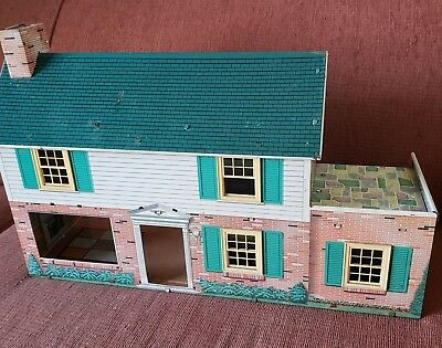 Vintage Marx Tin Litho Dollhouse - Metal 2 Story Doll Mid Century - 2nd fl porch