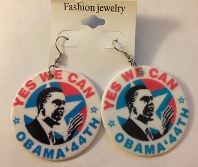 """2"""" Yes We Can Obama 44th Plastic Earings"""