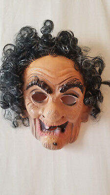 1950s Halloween Old Lady Witch Plastic Costume Mask