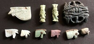 Collection Of 10 Late Period Faience Ancient Egyptian Amulets 500 BC