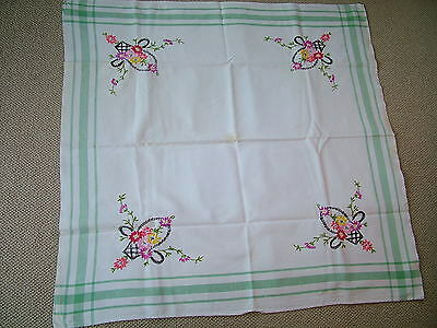 Retro Vintage Hand Embroidered White Cotton Table Cloth  Flower Basket Design