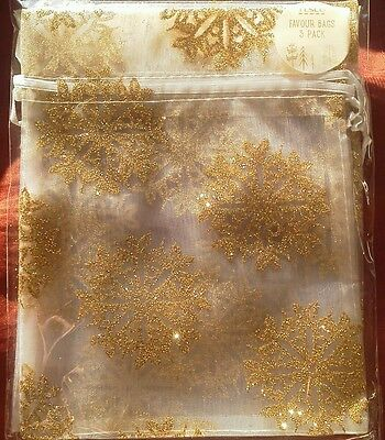 pack of 3 gold glitter favour bags. Bnip.