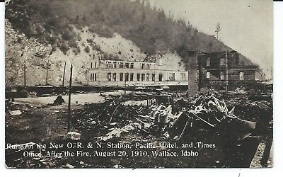 Wallace,Idaho - New O.R. & N. Station,Pacific Hotel & Times Office Fire