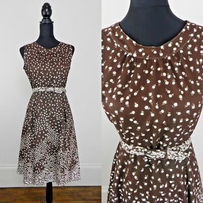 FRENCH VINTAGE 1970's RETRO BROWN WHITE BERRY BELTED SHIFT DRESS UK 12 Fr 40