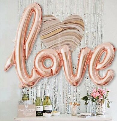 42 Rose Gold Love Letter Script Foil Balloon Hen Party Wedding