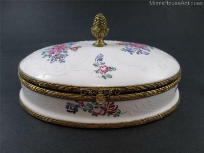 "8"" OVAL hinged BOX - Hand Painted French Porcelain - Embossed, Gilt Acorn Finial"