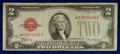 1928 $2 Red Seal United States Notes Small Size Replacement Banknote **Star**
