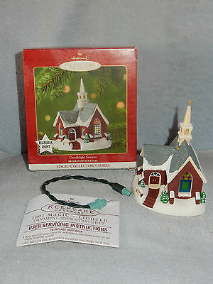 Hallmark 2001 Candlelight Services Lighted Church #4 Christmas Ornament in Box