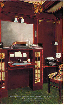 Postcard-Train Observation Parlor with Library Writing Desk and typewriter