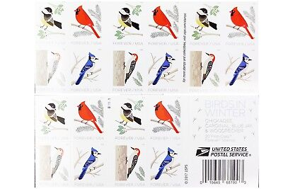 USPS New Birds in Winter Booklet of 20 ( 4 booklets, 80 stamps)