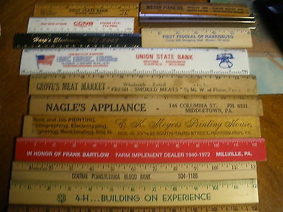 lot of 14 vintage rulers rulers Pennsylvania & NYC advertising banks markets 4H