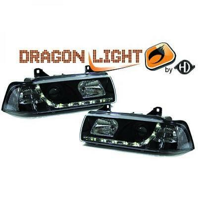 LHD Projector Headlights Pair LED Dragon Clear Black For BMW E36 Coupe 90-99