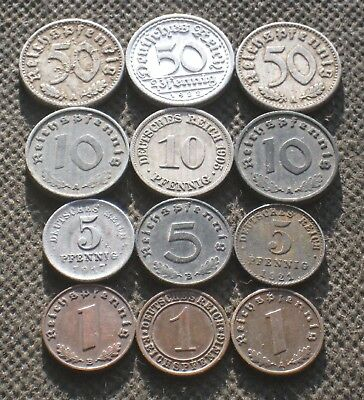 Lot Of Twelve Old Coins Germany (Empire Weimar Republic Third Reich) - Mix 1671