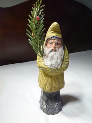 1921 CHRISTMAS ANTIQUE GERMAN BELSNICKLE SANTA CLAUS CANDY CONTAINER Mustard