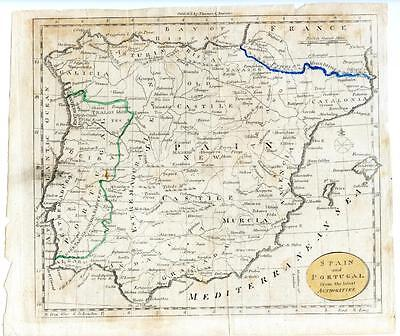 1700s Copper Engraving Hand Colored Map Portugal Spain France Thomas & Andrews
