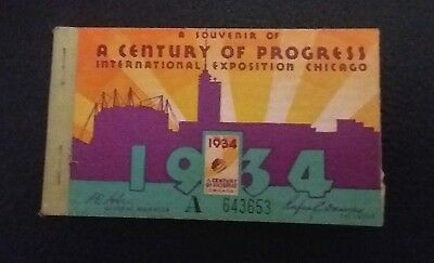 Vintage Admission Ticket Booklet 1934 A Century of Progress Chicago World's Fair