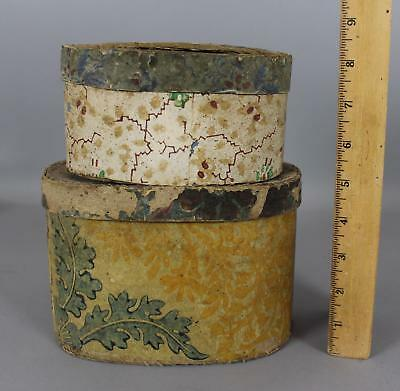 2 Small Tiny Antique 19thC Folk Art  Oval Paper Boxes Wallpaper Covering, NR