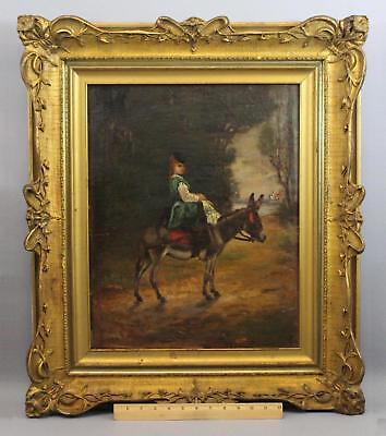 19thC Antique FRANK HILL SMITH Genre Oil Painting, Victorian Woman & Donkey NR