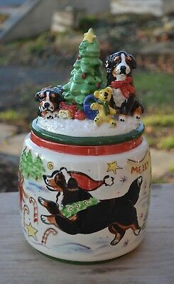 Bernese Mountain Dog . Handsculpted ceramic cookie jar. Christmas.OOAK .LOOK!