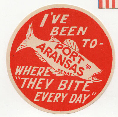 1930s PORT ARANSAS TEXAS Fishing DECAL Label TRAVEL Nueces County FISH Angling