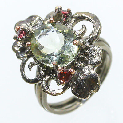 Handmade Ring Natural Green Amethyst 925 Sterling Silver Ring Size 8.25/R48695
