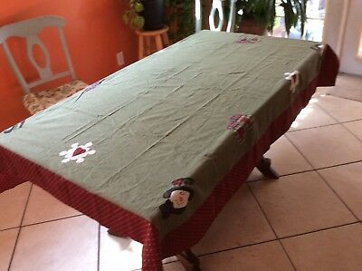 """Vintage Dianna Marcum Reversible Holiday Christmas Tablecloth Cranberry 48x 69"""""""