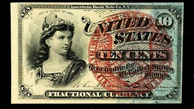 FR.1259 US 4th Issue (1869-75) 10 Cent Fractional - Choice UNC - Large Seal