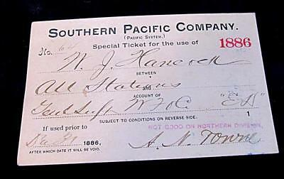 Original 1886 Annual Railway Pass Southern Pacific Company Pacific System