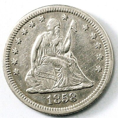 1858 Seated Liberty Quarter - XF - 25c Silver - Extremely Fine