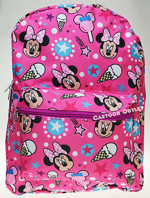 """Minnie Mouse Backpack School Book Bag 16"""" Pink All Print Christmas Gift Large"""