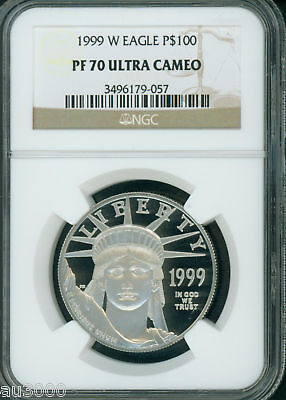 1999-W $100 Platinum Eagle Statue Of Liberty Ngc Pf70 Proof Pr70 Ultra Cameo !
