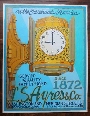 ONE-OF-A-KIND Indianapolis Indiana L.S.Ayres clock painting-Christmas Clock # 3