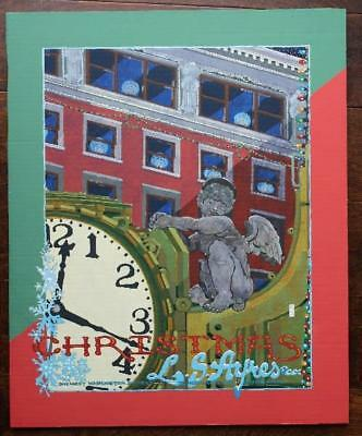 ONE-OF-A-KIND Indianapolis Indiana LS Ayres clock painting w/Christmas Cherub #2