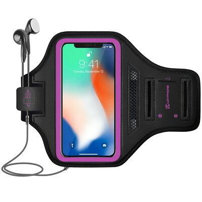 Armband for iPhone X and XS with Key Holder & Card Slot for Running - Rosy