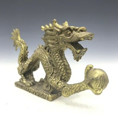 Exquisite old Chinese brass pen rack handmade carving dragon statue RT